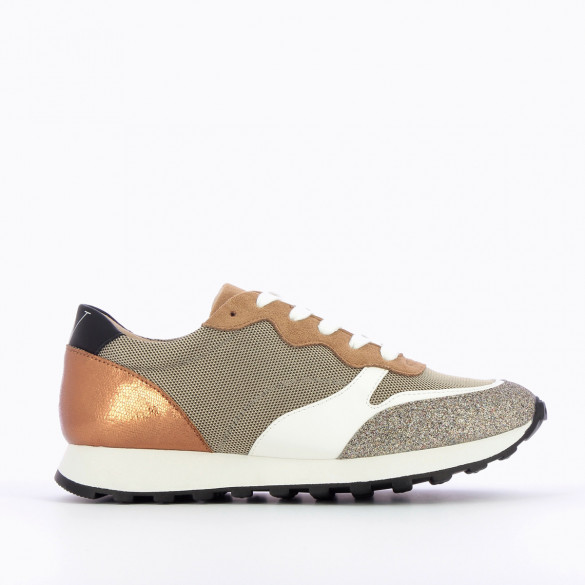 track sneakers for women Vanessa Wu grey with beige glittery yokes and laces