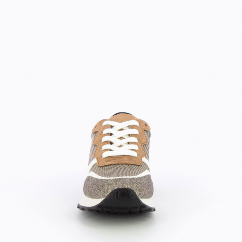 Grey sneakers with multi-material details