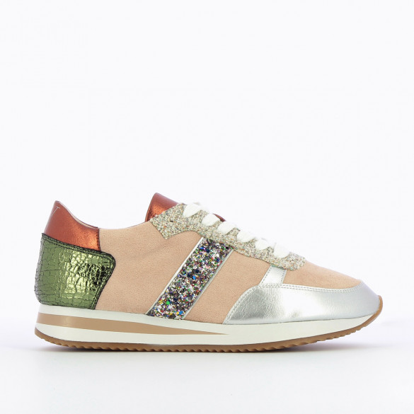 track shoe style sneakers for women Vanessa Wu pale pink metallic silver