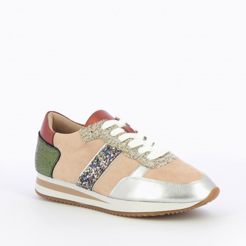 Pink and silver sneakers with side stripe