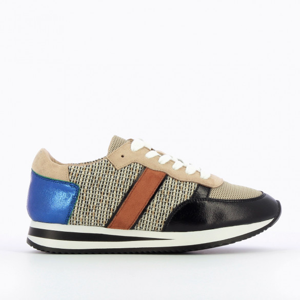 black sneakers for women Vanessa Wu with white laces beige and iridescent blue yokes running shoe