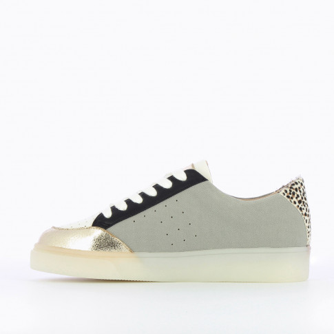 Grey and gold monogram sneakers