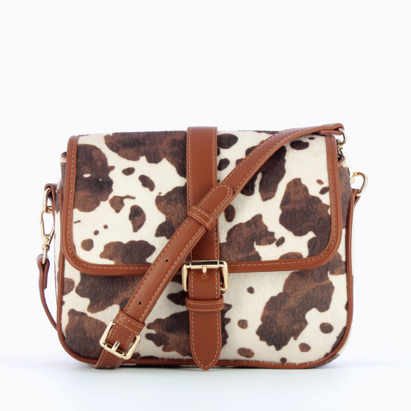 white and camel satchel pony leather effect animal print Vanessa Wu camel shoulder strap woman