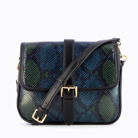 satchel Vanessa Wu blue and green python effect with black faux leather shoulder strap woman