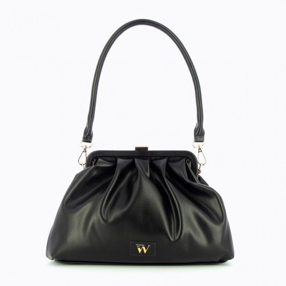 black faux leather bag large Vanessa Wu woman pleated with black clasp and shoulder strap