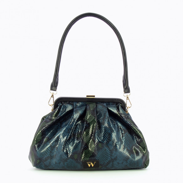 pleated bag blue snakeskin effect and green woman Vanessa Wu shoulder strap with tortoiseshell links