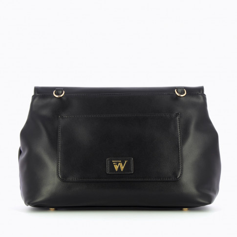 Black faux leather flap bag