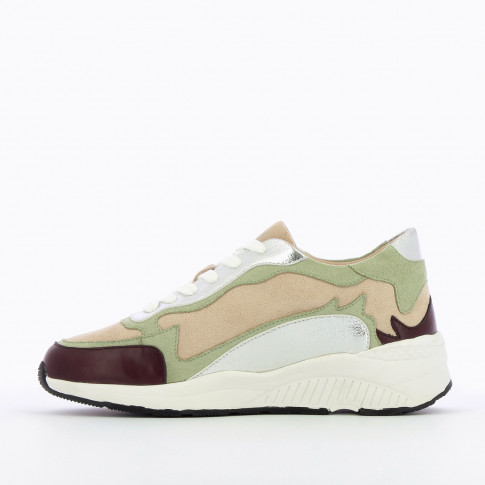 Green and plum sneakers with flame cutout