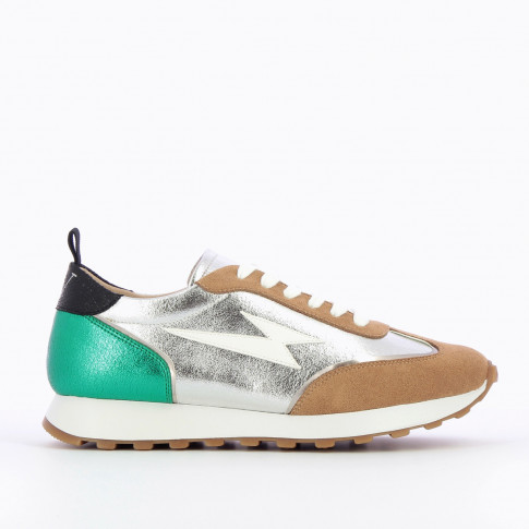 Silver lightning sneakers with track sole