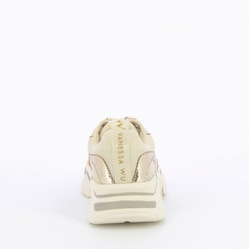 Beige mesh sneakers with gold details