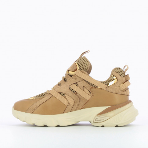 Camel monochrome sneakers with grosgrain straps