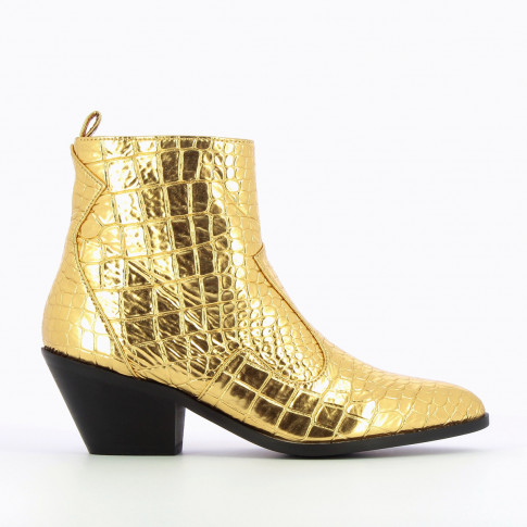 Bottines santiags or effet croco