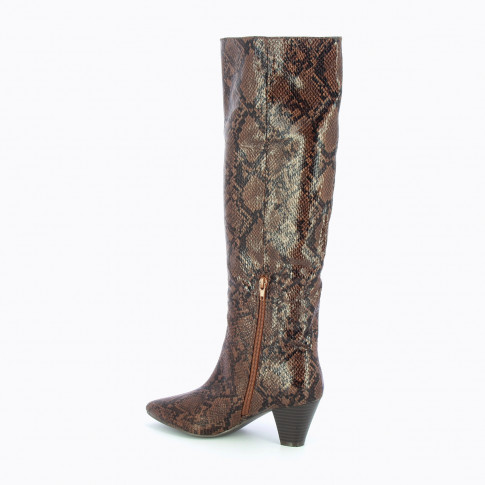 Coffee snakeskin boots with cuban heel