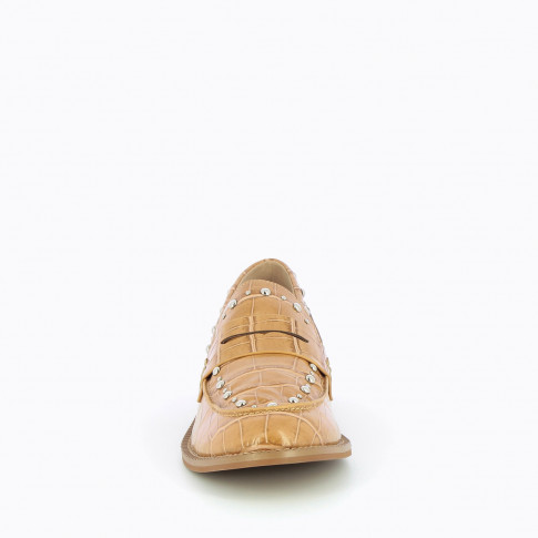 Camel studded loafers in croco effect