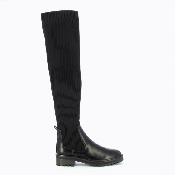 thigh high sock boots in black ribbed knit Chelsea with serrated sole woman Vanessa Wu