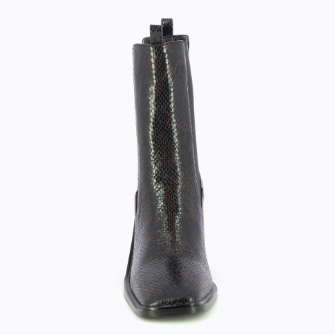 Black snakeskin effect ankle boots with high upper
