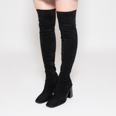 Black thigh highs with trapezium heel and square toe