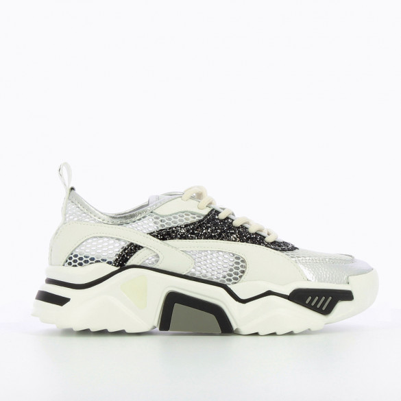 Black and white net effect sneakers