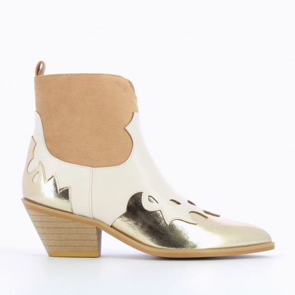 ankle cowboy boots western style woman camel gold and beige with cuban heel pointed Vanessa Wu