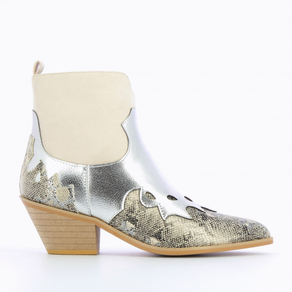 cowboy ankle boots silver beige and snakeskin print woman Vanessa Wu cuban heel pointed toe