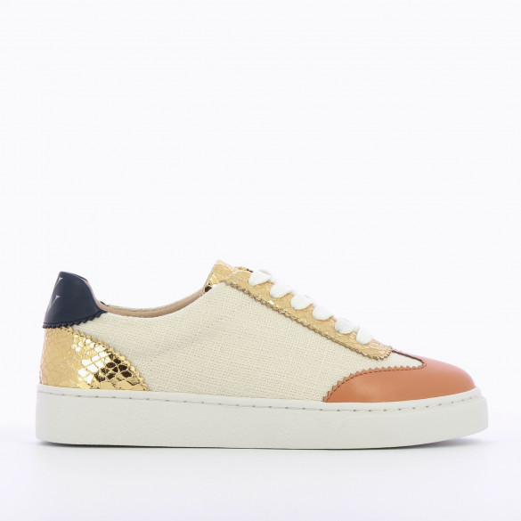city sneakers with lace in beige tweed with gold and camel details woman Vanessa Wu