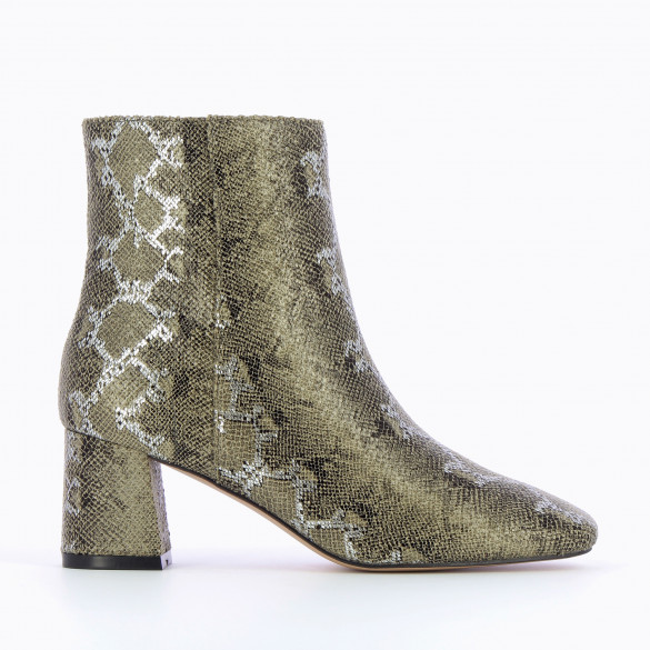 Khaki green ankle boots with snakeskin print silver woman Vanessa Wu rounded toe and small heel