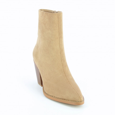 Beige suedette ankle boots with heel