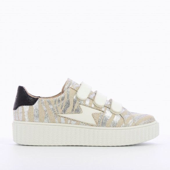 lightning sneakers with velcro burlap effect zebra silver woman platform creepers Vanessa Wu