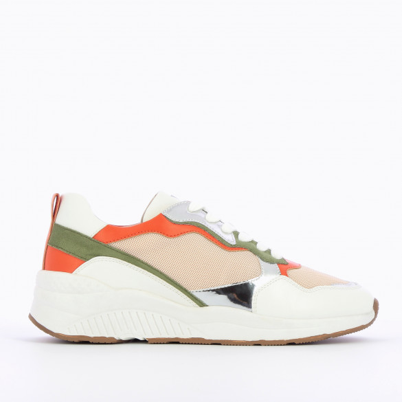 beige mesh sneakers with khaki green orange silver details woman with laces white sole Vanessa Wu