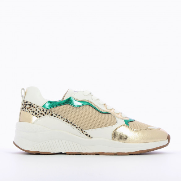 beige mesh sneakers woman Vanessa Wu large sole with laces gold and green details track style
