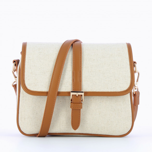 satchel bag beige canvas small with strap Vanessa Wu with camel details