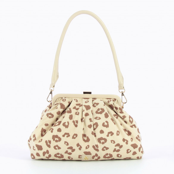 drawstring bag pleated beige with leopard print camel in suedette woman Vanessa Wu large