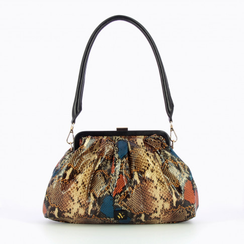 Camel snakeskin pleated bag