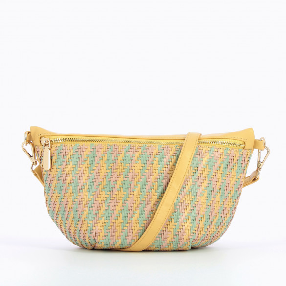 fanny bag yellow oversized faux leather with multicolored details woven woman Vanessa Wu