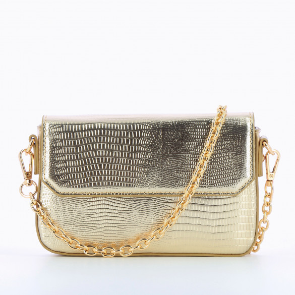 small bag gold faux leather with gold chain woman Vanessa Wu snakeskin effect