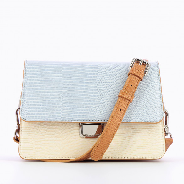 small handbag shoulder strap rigid faux leather beige and pastel blue snakeskin effect woman Vanessa Wu