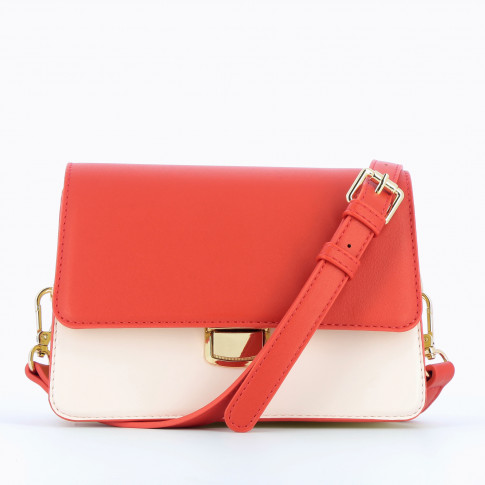 Red and yellow structured bag with strap
