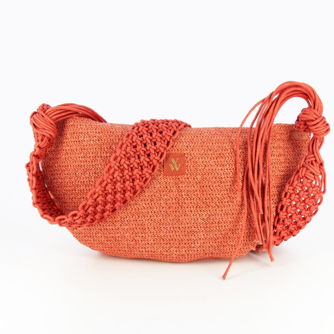 Coral raffia effect carrier bag