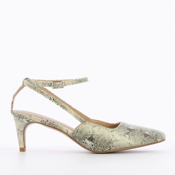 Pumps beige snakeskin effect woman Vanessa Wu with small fine heel and pointed toe