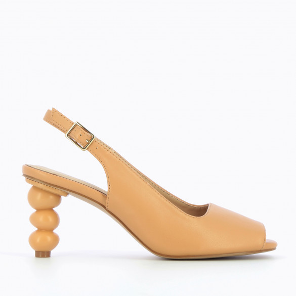 Pumps camel peep-toes with geometric ball heel and open toe woman Vanessa Wu