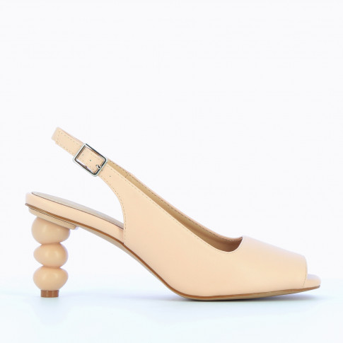 Pale pink peep-toe pumps with ball heel