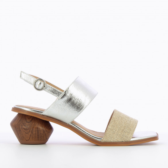 textured silver sandals with sculpted heel wood effect and tweed strap beige woman Vanessa Wu