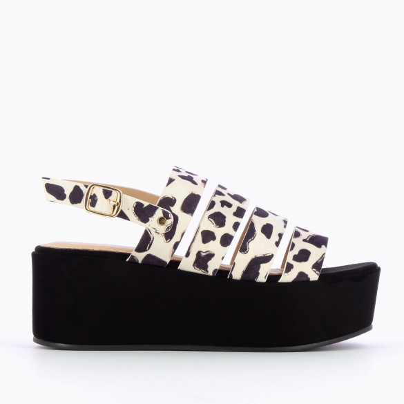 large platform sandals black suedette with multiple straps beige and black abstract print woman Vanessa Wu