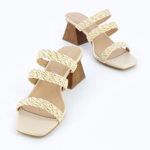 Beige mules with pyramid heel