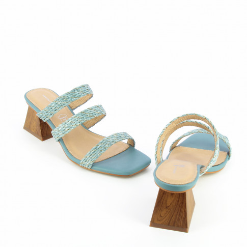 Blue mules with pyramid heel