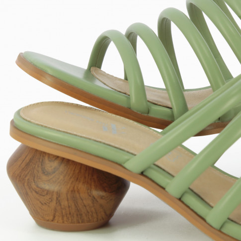 Almond green mules with ball heel