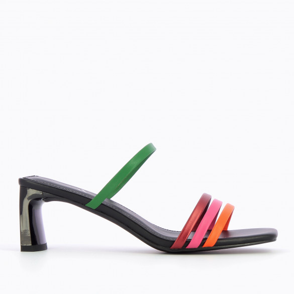 Black mules with multicolores straps and rectangular heel patent Vanessa Wu with square toe