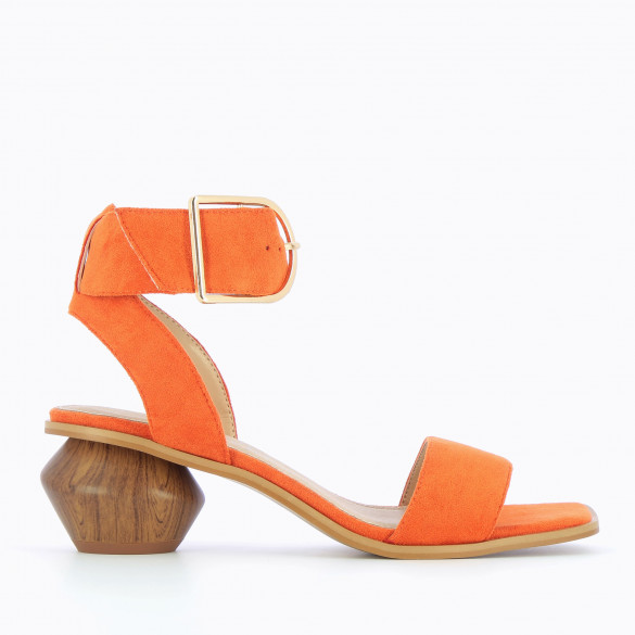 Orange sandals with oversized gold buckle in suedette with sculpted heel faux wood woman Vanessa Wu