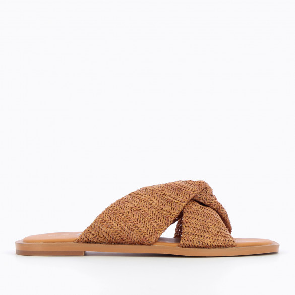 Flat camel mules with straps raffia effect tied woman Vanessa Wu