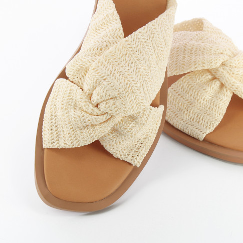 Ivory raffia effect mules with bow